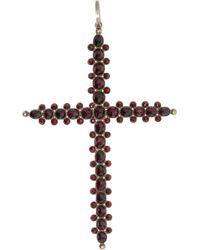 Olivia Collings - Garnet Cross Pendant - Lyst