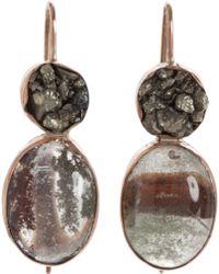 Sandra Dini - Pyrite Rutilated Moss Quartz Earrings - Lyst