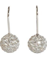 Shamballa Jewels - Pave Diamond White Gold Ball Drop Earrings - Lyst