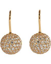 Shamballa Jewels - Pave Diamond Gold Ball Drop Earrings - Lyst