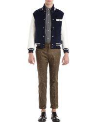 Thom Grey - Leather Sleeve Letterman Corduroy Jacket - Lyst
