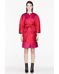 Burberry Prorsum Magenta Structured Single Breasted Coat - Lyst