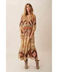 Camilla Peasant Silk Maxi Dress - Lyst