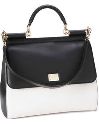 Dolce & Gabbana Miss Sicily Bicolor Top Handle Leather Satchel - Lyst