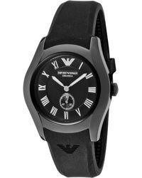 Emporio Armani Womens Ceramica Black Dial Black Silicone Earmani Watch - Lyst