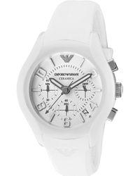 Emporio Armani Womens Ceramica Chronograph White Dial White Silicone Earmani Watch - Lyst