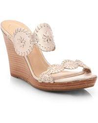 Jack Rogers Luccia Metallic Leather Platform Wedge Sandals gold - Lyst