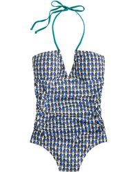 J.Crew Deco Shell Ruched Halter Bandeau Tank - Lyst