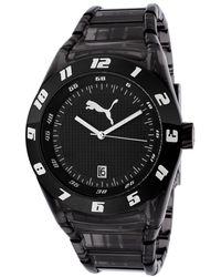 PUMA - Womens Dont Follow The Crowd Black Dial Black Plastic Watch - Lyst