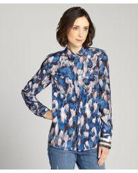 Rachel Roy Celestial Print Two Pocket Silk Long Sleeve Button Up Blouse - Lyst