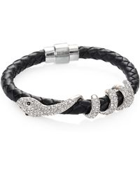 ABS By Allen Schwartz - Snake Braided Leather Bracelet - Lyst