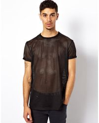 Asos Perforated Tshirt with Roll Sleeves - Lyst