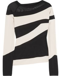 Donna Karan New York Asymmetric Stretch Jersey and Tulle Top - Lyst
