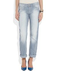 Each x other Striped Boyfriend Jeans in Blue | Lyst