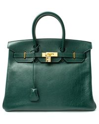 Hermes Green Leather Birkin 35 Vintage Large Satchel - Lyst