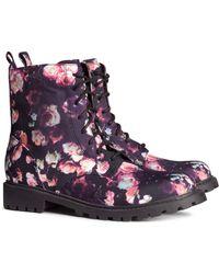 H&M Floral Boots - Lyst