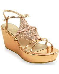 Lola Cruz - Rose Gold Metallic Wedge Stone Sandal - Lyst