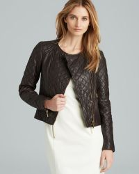 MICHAEL Michael Kors Quilted Leather Combo Zip Jacket - Lyst