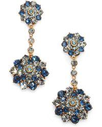 Oscar de la Renta Swarovski Crystal Clipon Drop Earrings - Lyst