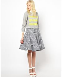 Peter Jensen Circle Skirt in Card Print Canvas - Lyst