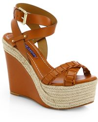 2dae20b043d Ralph Lauren Collection - Filipina Leather Espadrille Wedge Sandals - Lyst