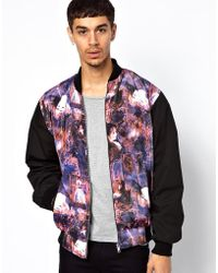 Reclaimed (vintage) Varsity Jacket with Water Colour Print - Lyst