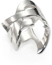 Saint Laurent Monogramme Signature Ring/Silvertone - Lyst