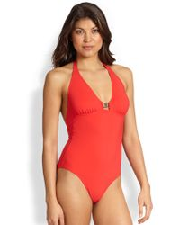 Tory Burch One-Piece Logo Halter Swimsuit - Lyst