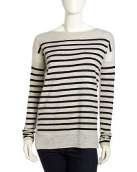 Vince Striped Cashmere Boatneck Sweater  - Lyst