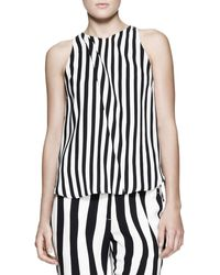 A.L.C. Laselz Opticstripe Silk Top - Lyst