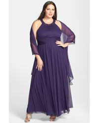 Alex Evenings Beaded Neck Long Dress With Scarf - Lyst