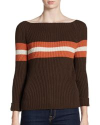 Cotton by Autumn Cashmere | Striped Boat Neck Sweater | Lyst