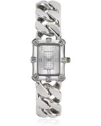 John Galliano - Graphical Silvertone Stainless Steel Womens Watch - Lyst