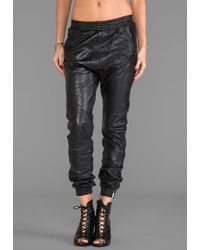 One Teaspoon Leather Trackies Pant in Black - Lyst