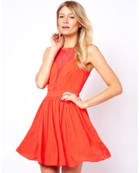 Oasis Lace Panel Dress - Lyst