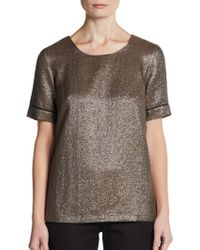 French Connection Metallic Crepe Shortsleeve Top - Lyst