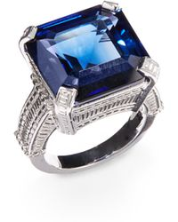 Judith Ripka Blue Stone Sterling Silver Ring - Lyst