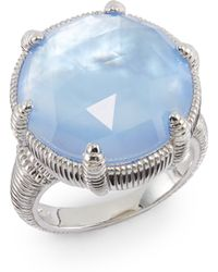 Judith Ripka Faceted Round Blue Doublet Sterling Silver Ring - Lyst