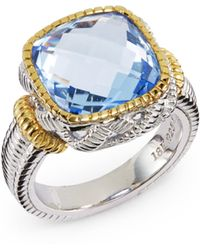 Judith Ripka Square Stone Sterling Silver 18k Yellow Gold Ring - Lyst