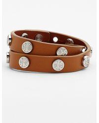 Tory Burch Logo Leather Wrap Bracelet - Lyst