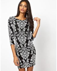 Tfnc Long Sleeve Monochrome Baroque Sequin Dress - Lyst
