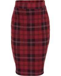Topshop  Red Check Tube Skirt - Lyst