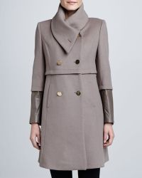 Elie Tahari Maddison Leather Cuff Coat - Lyst