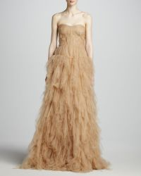 J. Mendel Strapless Tulle Gown with Woven Bodice - Lyst