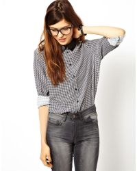 Asos Shirt with Pu Collar in Tiny Check - Lyst