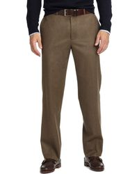 Brooks Brothers Madison Fit Plain-Front Flannel Trousers brown - Lyst