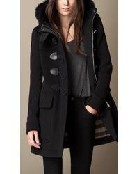 Burberry Fur Trim Duffle Coat with Contrast Sleeves - Lyst