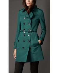 Burberry Mid Length Silk Blend Faille Trench Coat - Lyst