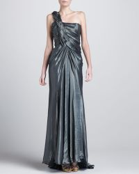Donna Karan New York Braidedshoulder Metallic Gown - Lyst