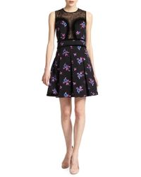 Jill Stuart | Cassy Floral Print Satin Pleated Dress | Lyst